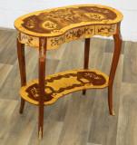 Masuta din lemn masiv cu furnir cu decoratiuni din alama CAT-AB35-neu-hell, Mese si seturi de masa