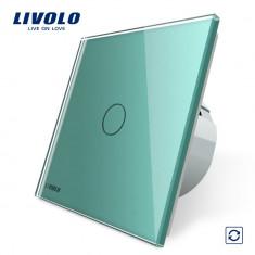 Intrerupator cu revenire Livolo cu touch din sticla, Verde