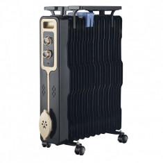 Calorifer electric cu ulei Zephyr, 2500 W, 11 elementi, 3 trepte, termostat, Negru