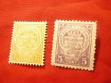 2 Timbre Luxemburg 1926 - Steme  : 5C violet si 7 1/2Corange , sarniera, Nestampilat