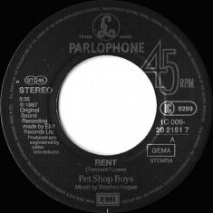"""Pet Shop Boys - Rent (1987, Parlophone) Disc vinil single 7"""""""