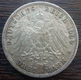 (A868) MONEDA DIN ARGINT GERMANIA, PRUSIA - 3 MARK 1909, LIT. A, WILHELM II, Europa