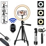 Trepied Reglabil + Lampa circulara Ring Light 10inch + Telecomanda Remote Selfie bluetooth + Suport telefon