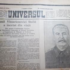 ziarul universul 9 martie 1953-moartea lui stalin