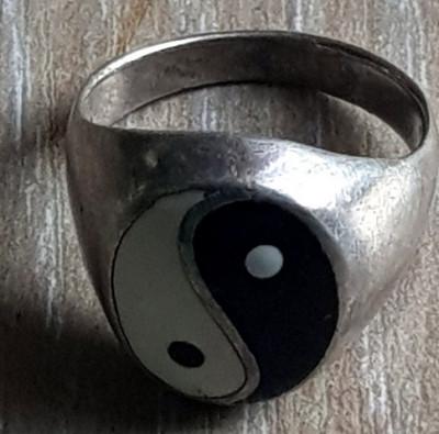 Fermecator inel YIN SI YANG argint 925- confectionat manual - vintage foto