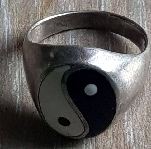 Fermecator inel YIN SI YANG argint 925- confectionat manual - vintage