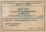 Brevet insigna sportiva de bronz 1953 Romania