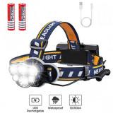 Lanterna Frontala de Cap 6 LED-uri ,2 Acumulatori Premium Inclusi
