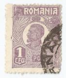 *Romania, LP 72/1929, Ferdinand - uzuale, 1 leu violet, eroare 3, oblit., Stampilat