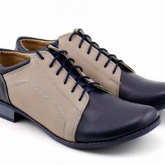 Oferta marimea 35 Pantofi dama casual din piele naturala (albastru cu gri) LP53BG