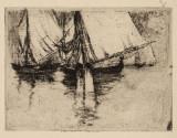 Richard Canisius - Iole la Brignoli , grafica , dim 10 x 10 cm , acte Artmark, Peisaje, Grisaille, Altul