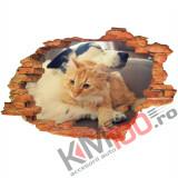 "Sticker ""Wall Crack"" Dog Cat 11 - 120 x 80 cm"