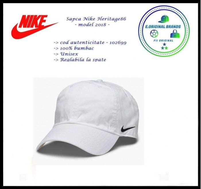 In Stoc! Sapca Nike Heritage  Alba - Reglabila - Bumbac - Cod 102699x