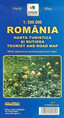 Harta turistica si rutiera Romania foto