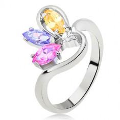 Inel argintiu cu braț ondulat și zirconii bobițe - Marime inel: 54