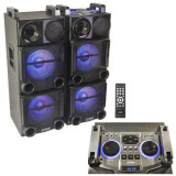SET 2 BOXE 2X12 inch/30CM 1200W CU USB/SD/AUX/BLUETOOTH + TELECOMANDA