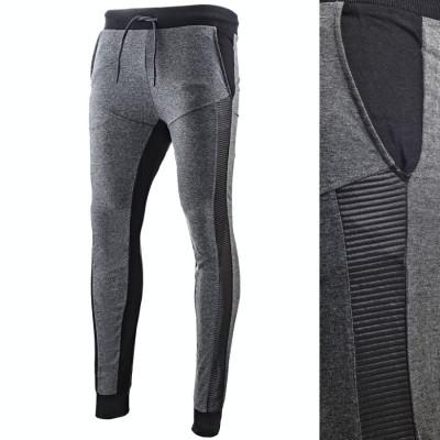 Pantaloni pentru barbati slim fit gri inchis cu siret banda jos carbon foto