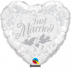 Balon nunta inima din folie 43cm Just Married