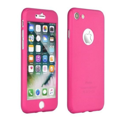 Husa Iberry 360 Folie Sticla Roz Pentru Iphone 7 foto