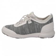 Adidasi dama, din piele si sintetic, marca Geox, D82BHA-96-06, gri cu alb , marime: 41