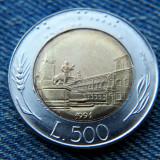 1p - 500 Lire 1991 Italia / bimetal, Europa