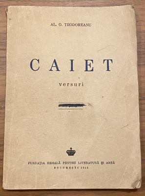 Al. O. Teodoreanu Pastorel - Caiet - versuri dedicatie autograf 1943 foto