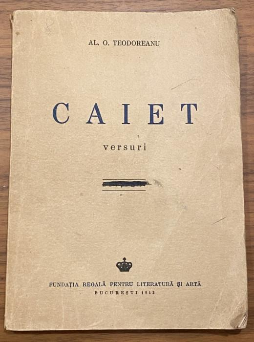 Al. O. Teodoreanu Pastorel - Caiet - versuri dedicatie autograf 1943