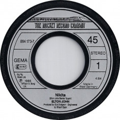 """Elton John - Nikita (1985, Rocket Record) Disc vinil single 7"""""""