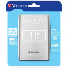 Hard disk extern Verbatim Store n Go 1TB 2.5 inch USB 3.0 Silver, 1-1.9 TB, 5400