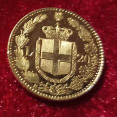 Italia,20 lire Aur,1882,monedă proof. Preț 1900 lei