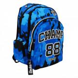 Ghiozdan scoala, model Champ, compartiment laptop, 33x18x49 cm, negru/albastru
