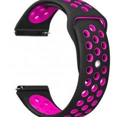 Curea ceas Smartwatch Samsung Gear S2, iUni 20 mm Silicon Sport Black-Pink