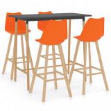 Set mobilier de bar, 5 piese, portocaliu, vidaXL