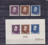 ROMANIA 1942 LP 147 LP 148 TITU MAIORESCU SERIE SI COLITA NEDANTELATA MNH