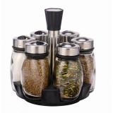 Cumpara ieftin Set 6 recipiente condimente cu suport rotativ, design restaurant, Grunberg