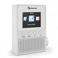 "Auna Digi Plug Internet Radio wireless, control 25000 de posturi de radio 2.4 ""display color TFT alb"