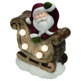 Decoratiune luminoasa Mos cu sanie, 4 LED-uri, 15 cm, ceramica
