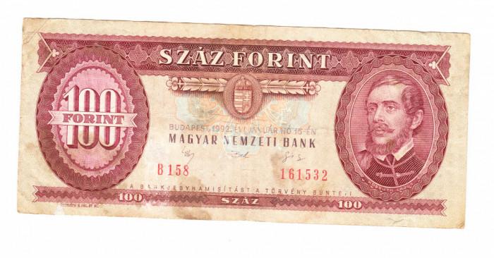 Bancnota Ungaria 100 forinti 15 ianuarie 1992, circulata, stare buna