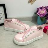 Pantofi roz pal de lac cu perle adidasi fete 31