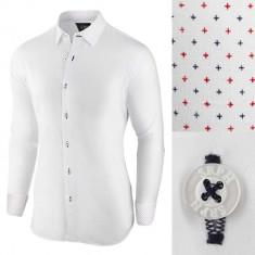 Camasa pentru barbati alb regular fit elastica casual cu guler essential