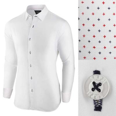 Camasa pentru barbati, alb, regular fit, elastica, casual, cu guler - essential foto