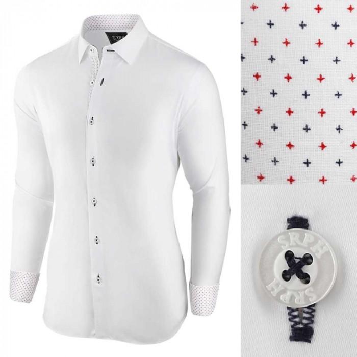 Camasa pentru barbati, alb, regular fit, elastica, casual, cu guler - essential