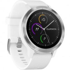 Smartwatch Vivoactive 3 Otel Inoxidabil Argintiu Si Curea Alba, Garmin