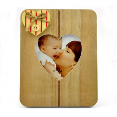 Rama foto Solo lemn cu decoratiune inimioara aplicata, format 10x15