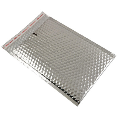 Set 100 plicuri cu bule aer, spatiu destinatar-expeditor, laminate, termoizolante, autoadezive Office Depot, 33x22 cm, Argintiu foto