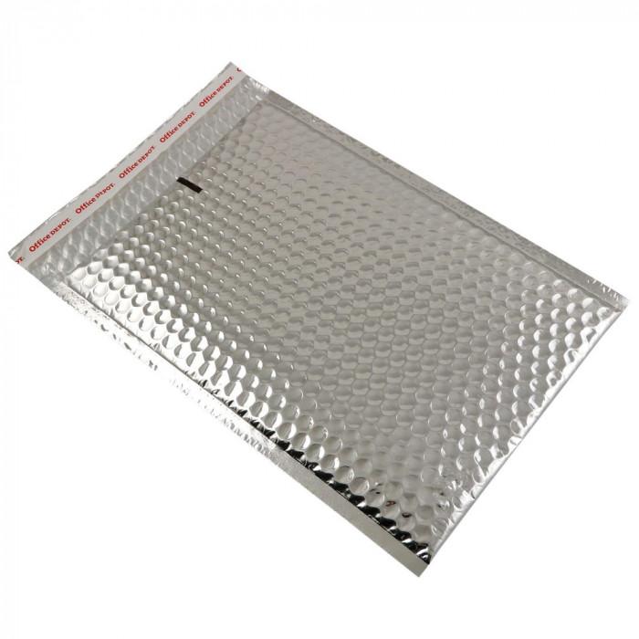 Set 100 plicuri cu bule aer, spatiu destinatar-expeditor, laminate, termoizolante, autoadezive Office Depot, 33x22 cm, Argintiu