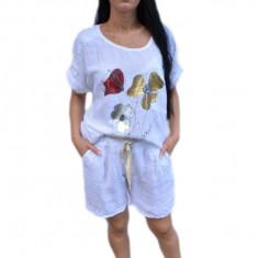 Pantalon scurt de vara, material din in, nuanta de alb cu centura crem