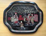 Cumpara ieftin Tava metal veche chinezeasca, litografiata, grafica deosebita, 33x27 cm