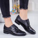 Pantofi Piele Raudri negri casual