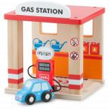 Set de Joaca din Lemn Benzinarie si o Masina, New Classic Toys